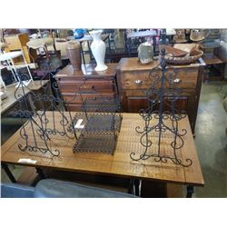4 METAL STANDS AND 2 WIRE METAL 2 TIER TRAYS