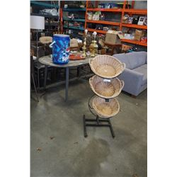 METAL DISPLAY STAND WITH WICKER BASKETS