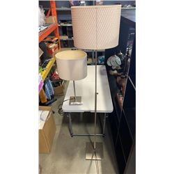 MODERN CHROME FLOOR LAMP AND TABLE LAMP