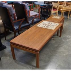TEAK COFFEE AND ENDTABLE WITH TILE INSERT