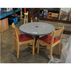 ROUND DINING TABLE WITH 2 MAPLE CHAIRS