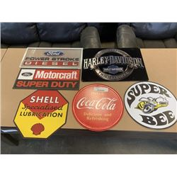 6 NEW TIN SIGNS