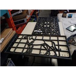 2 CAST IRON GRATES - ONE WITH DOG DESIGN