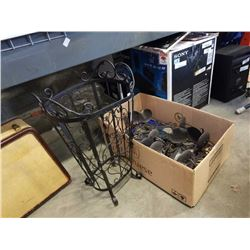 Box of decorative metal candle holders and decorative metal umbrella stand