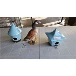 GOOSE FIGURE AND 2 CERAMIC BIRD HOUSES
