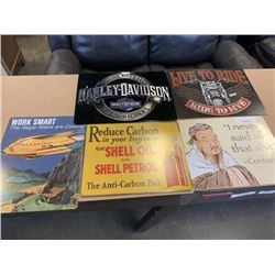 5 NEW TIN SIGNS