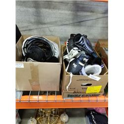 LOT OF KIDS ICE SKATES AND ROLLER BLADES AND MENS ICE SKATES