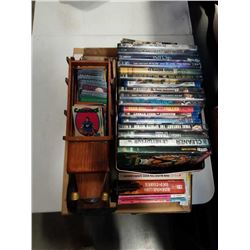 LOT OF DVDS, COLLECTOR CARDS, STAR TREK BOOKS, WOOD TRUCK