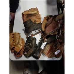 LOT OF VINTAGE BASEBALL GLOVES AND PAIR OF ICE SKATES