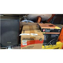 BOX OF KITCHEN ITEMS, ELECTRIC KETTLE, PAN, SPEAKERS, MIRROR