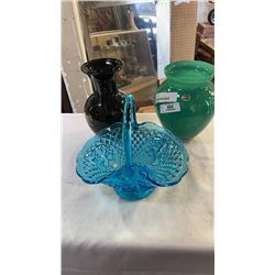BOHEMIA GLASS VASE, BLUE GLASS BASKET AND EASTERN VASE