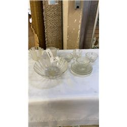 VINTAGE GLASS TEACUPS, SAUCERS, BOWLS, CUPS