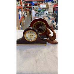 BOMBAY CO AND WESTMINSTER MANTLE CLOCKS AND WOOD FIGURE