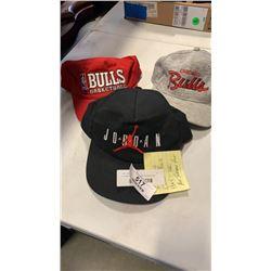 3 vintage chicago bulls hats including jordan