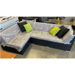 BRAND NEW PREMIUM SMALL L OUTDOOR SECTIONAL RETAIL $1199 W/ LIGHT GREY CUSHIONS AND 2 ACCENT PILLOWS