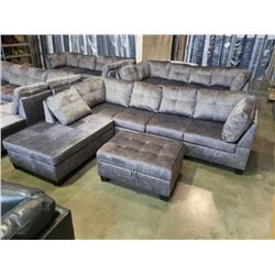 BRAND NEW 4 PIECE GREY FABRIC SECTIONAL SOFA W/ REVERSIBLE CHAISE AND STORAGE OTTOMAN - RETAIL $1999