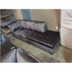 BRAND NEW 2 PIECE GREY FABRIC CHAISE LOUNGE