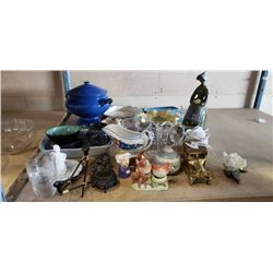 LARGE LOT OF ESTATE COLLECTABLES, CANDLES, BRASS CAR
