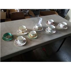 8 CHINA CUPS AND SAUCERS - 1 mismatched