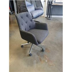GREY BUTTONBACK ROLLING OFFICE CHAIR