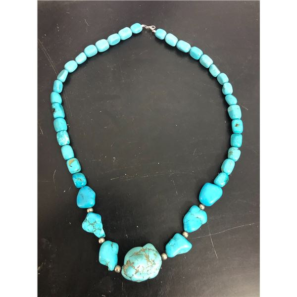 Navajo Hand Made Block Turquoise Nugget Necklace