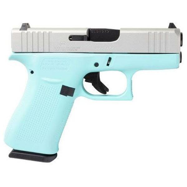 Glock 43X Semi-Auto 9mm Pistol. Duracoted Tiffany Blue