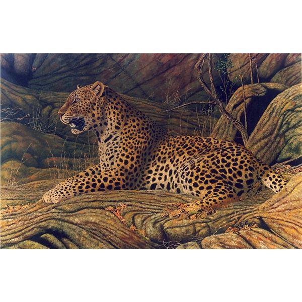 Leopard Lair. Original oil on canvas by Zimbabwean wildlife artist Jan Stander.