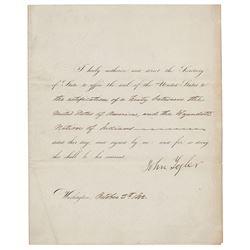 John Tyler Document Signed