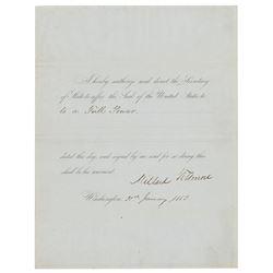 Millard Fillmore Document Signed