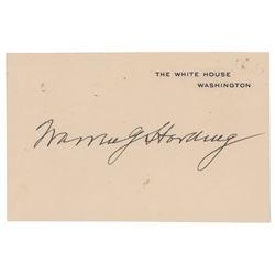 Warren G. Harding Signed White House Card