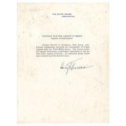Harry S. Truman Document Signed