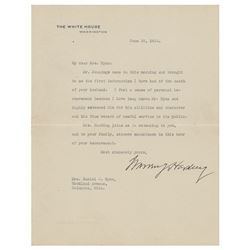 Warren G. Harding Typed Letter Signed