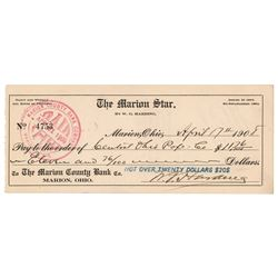 Warren G. Harding Signed Check