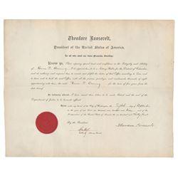 Theodore Roosevelt Document Signed