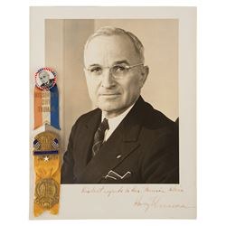 Harry S. Truman Signed Photograph and (2) Badges