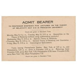 Albert Einstein Original 1921 Princeton University 'Theory of Relativity' Lectures Admission Pass