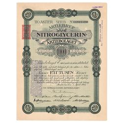Nobel: Nitroglycerin Aktiebolaget Stock Certificate