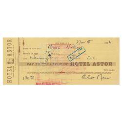 Eliot Ness Signed Check