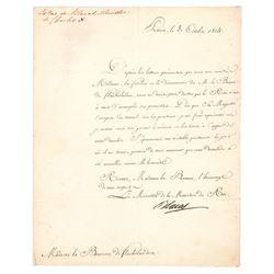 Pierre Louis Jean Casimir de Blacas and Jean-Guillaume, baron Hyde de Neuville Letters Signed