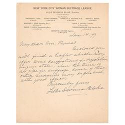 Lillie Devereux Blake Autograph Letter Signed