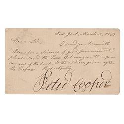 Peter Cooper Letter Signed