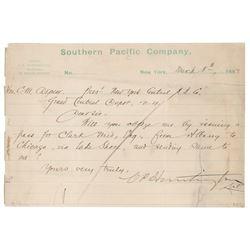 Collis P. Huntington Letter Signed