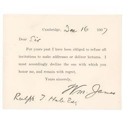 William James Signed Form Letter