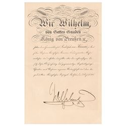 Kaiser Wilhelm II Document Signed