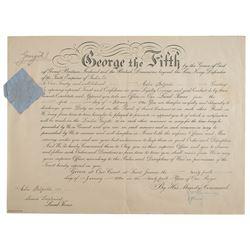 King George V Document Signed