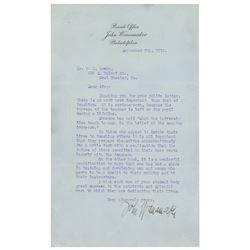 John Wanamaker Typed Letter Signed
