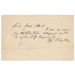 Benjamin Butler Autograph Letter Signed
