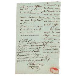 Francois Christophe de Kellermann Document Signed