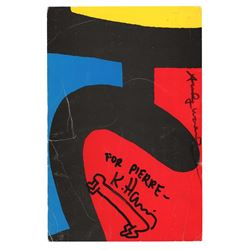 Keith Haring and Andy Warhol Signed Exhibition Card with Sketch