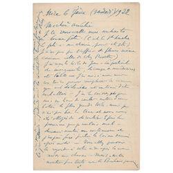 Henri Matisse Autograph Letter Signed